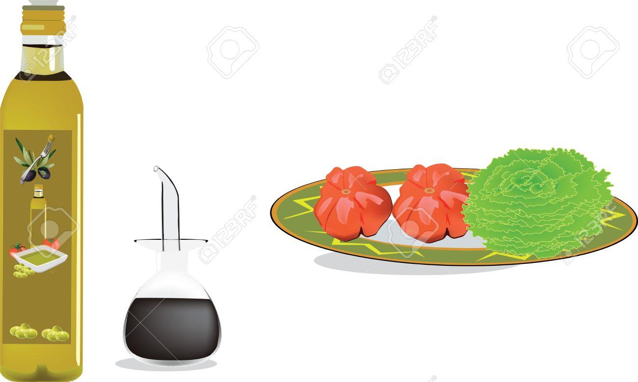 Piatto Di Verdure Con Olio E Aceto Clipart Royalty.