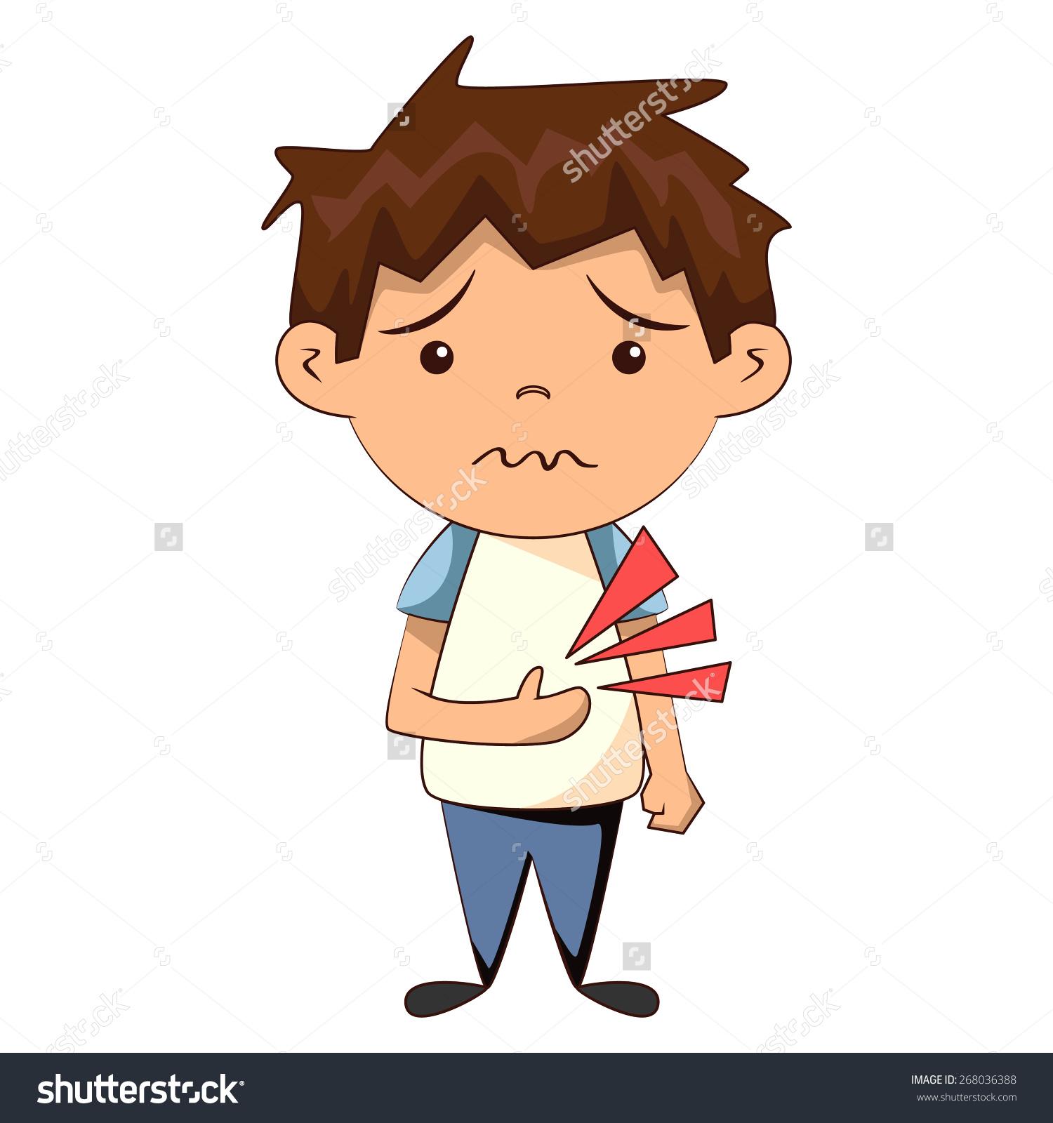 Kid stomach ache clipart.
