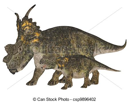 Clip Art of Adult and Young Achelousaurus.