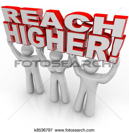 Stock Illustration of Reach Higher People Lifting Words Achieve.