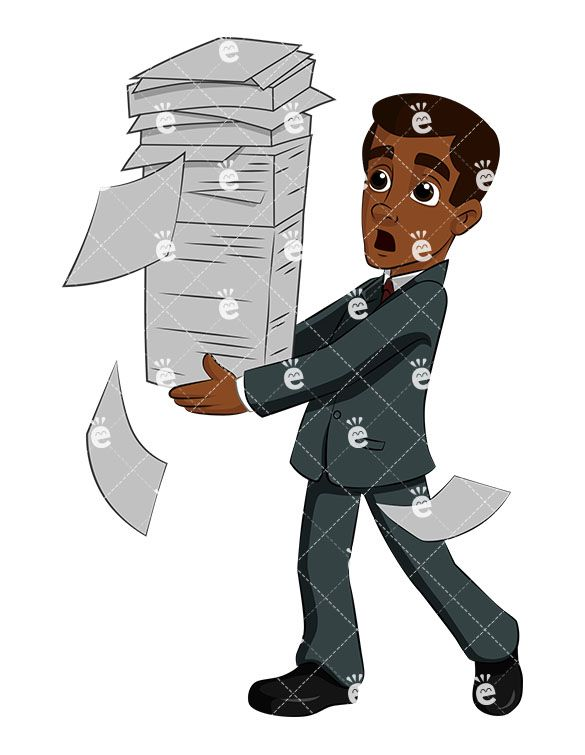 A Black Businessman Juggling A Stack of Papers As It Begins.