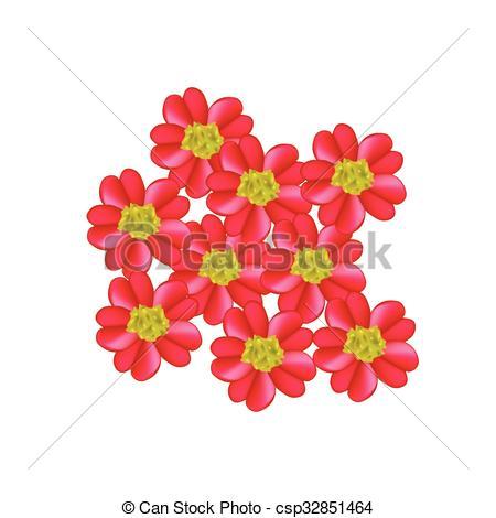 Clip Art Vector of Red Yarrow Flowers or Achillea Millefolium.