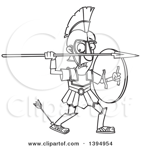 Clipart of a Cartoon Black and White Greek God, Achilles, with an.
