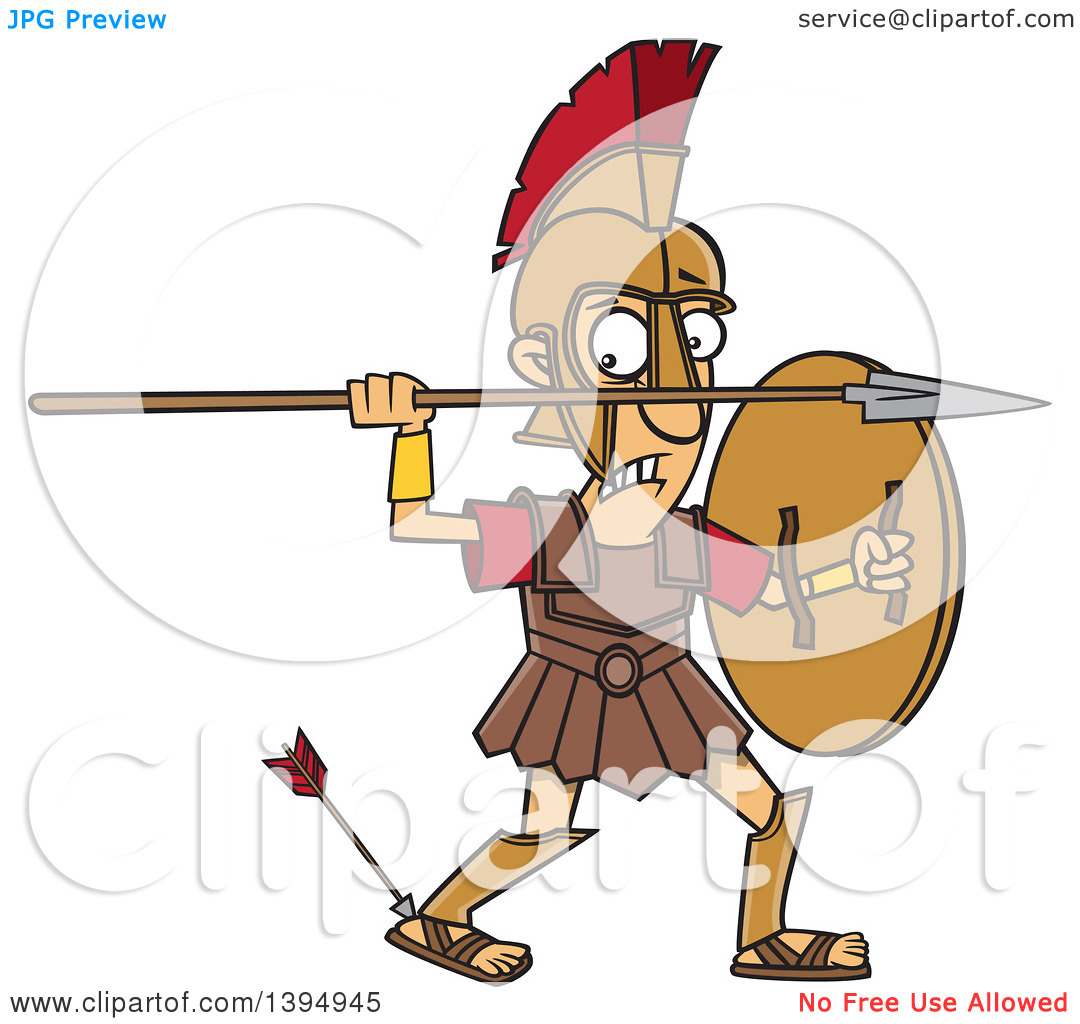 Clipart of a Cartoon Greek God, Achilles, with an Arrow in His.