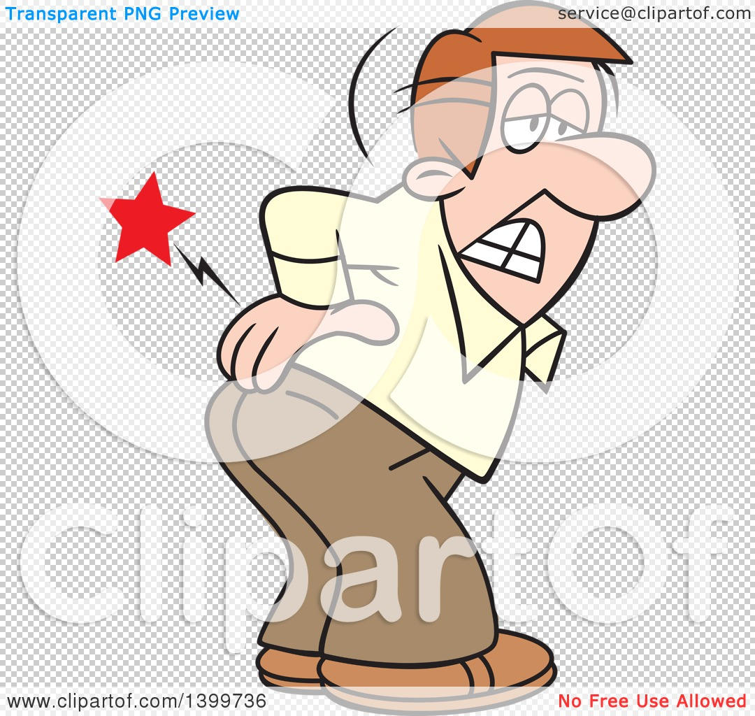 Clipart of a Cartoon Caucasian Business Man Bending over with an.