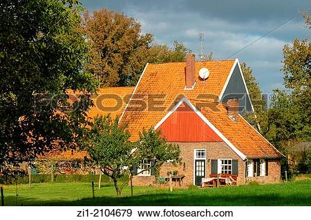 Stock Photograph of old farmhouse in the Achterhoek, the.