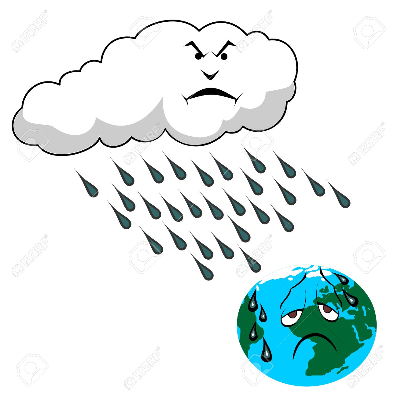 Acid Rain And Planet Earth Vector Illustration Royalty Free.
