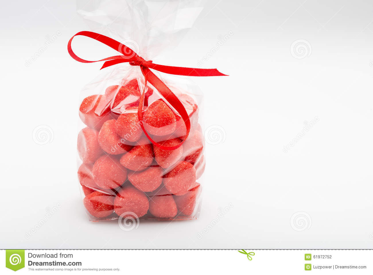 Plastic Bag Of Acidulous Strawberries Isolated With Elegant Red.