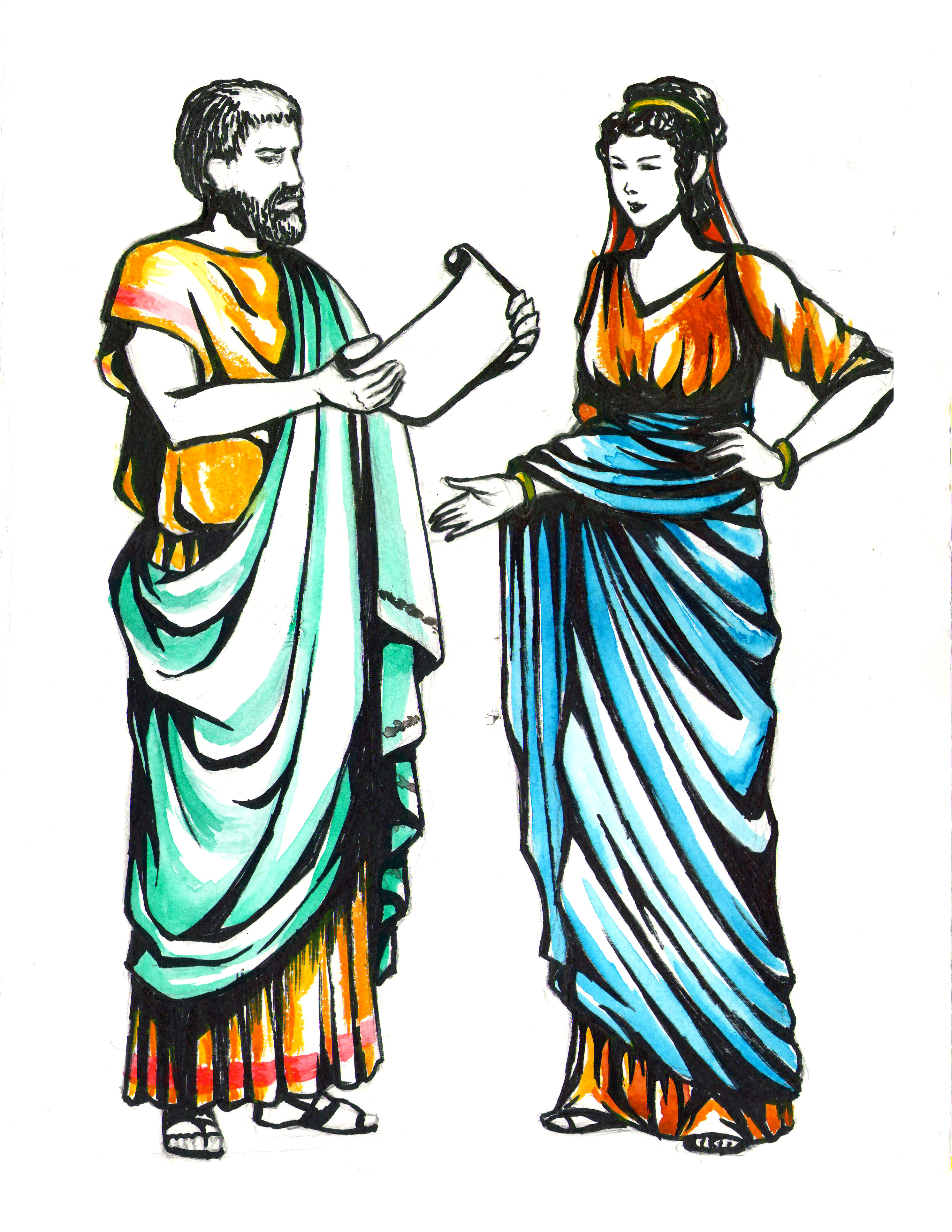 Ancient athenians girl clothing clipart.