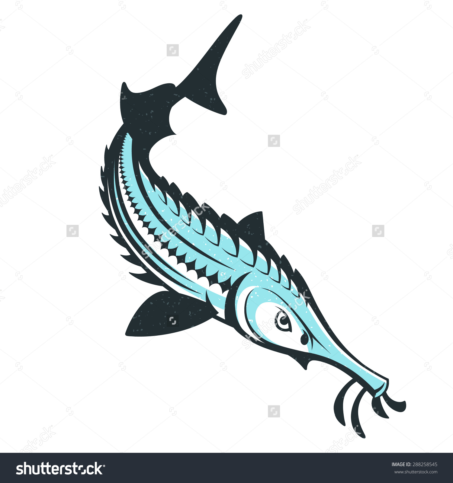 Sturgeon Fish Logo Template Vector Illustration Stock Vector.