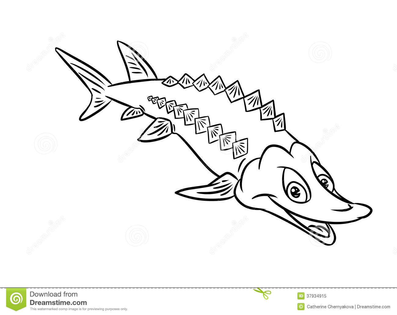 Sturgeon, Vector Cartoon Illustration Stock Vector.