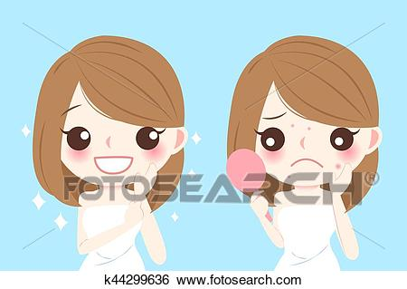Cartoon woman with acne Clip Art.