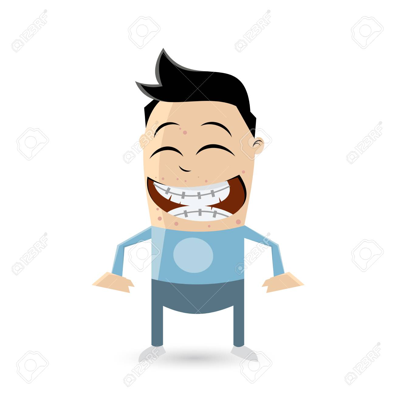 clipart of a funny teenager with acne and braces.