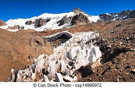 Picture of Aconcagua mountain top in Mendoza, Argentina, South.