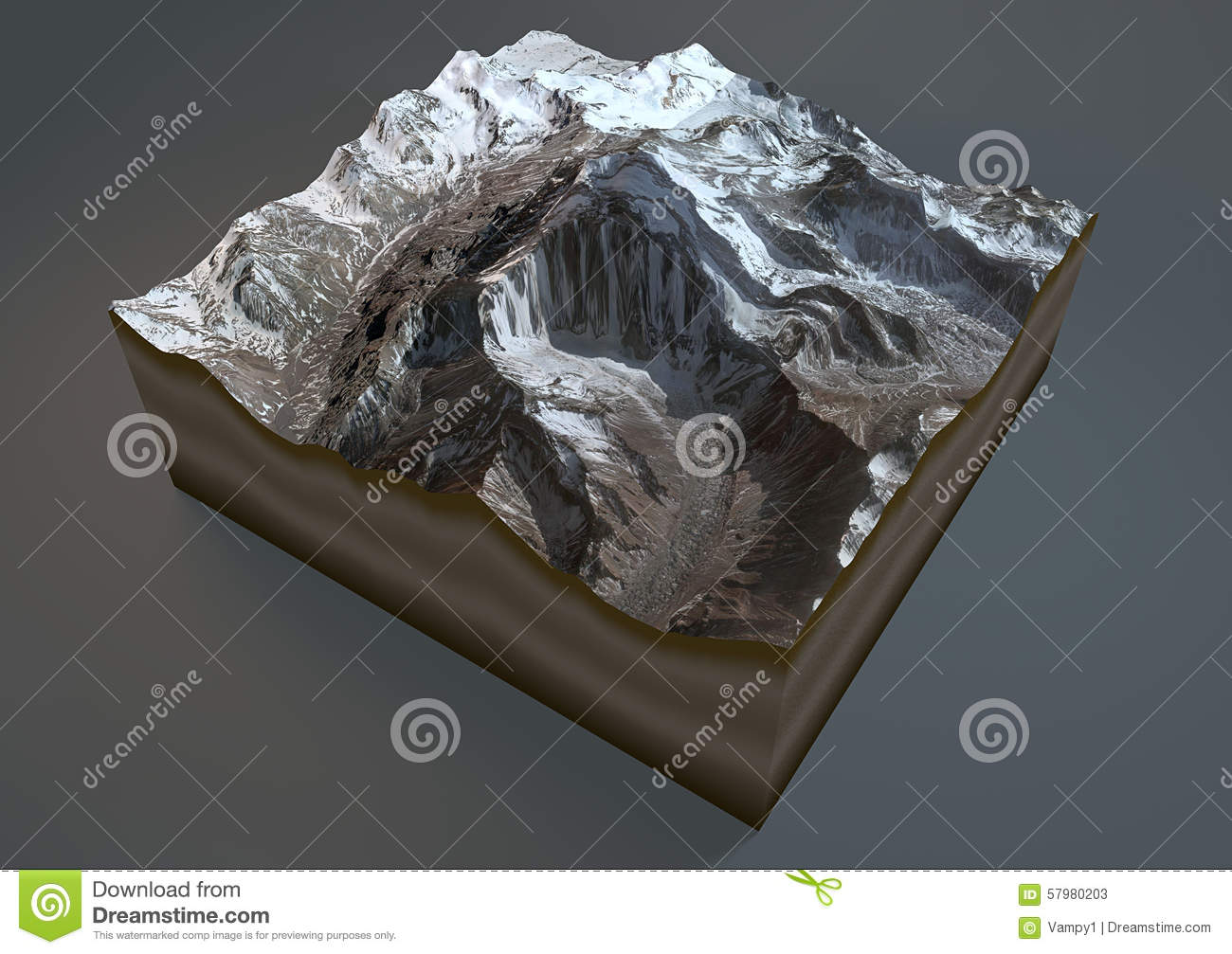 Aconcagua Mountain, Satellite View, Argentina Stock Illustration.