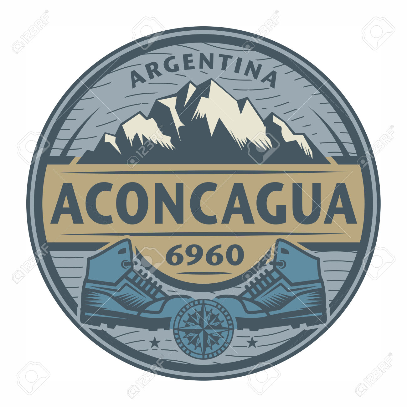 Stamp Or Emblem With Text Aconcagua, Argentina, Vector.