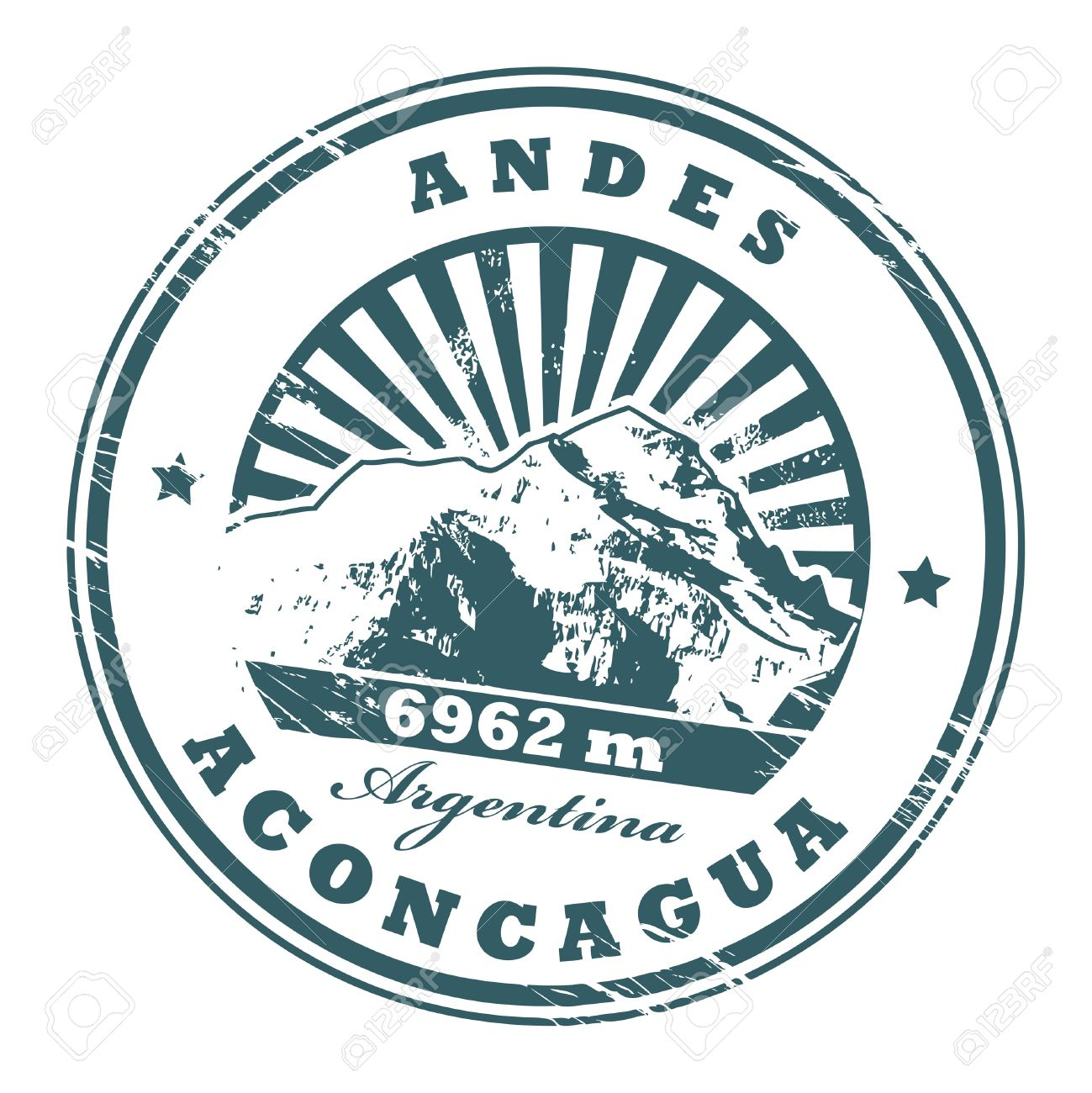 Grunge Rubber Stamp With The Mount Aconcagua, Highest Mountain.