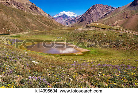 Stock Photo of Beautiful landscape in the Andes with Aconcagua.
