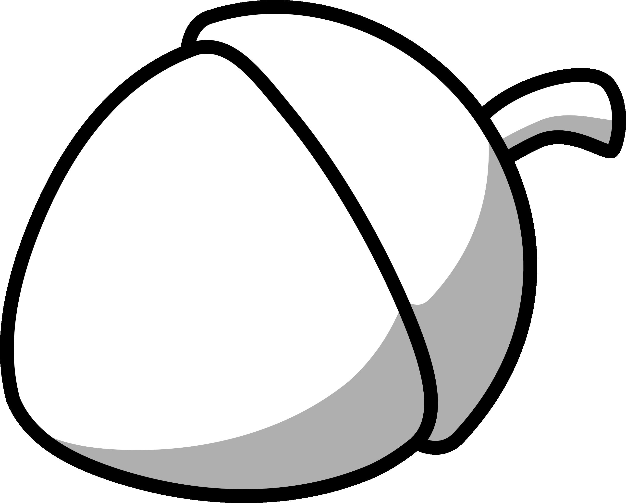 large Acorn clip art black and white.