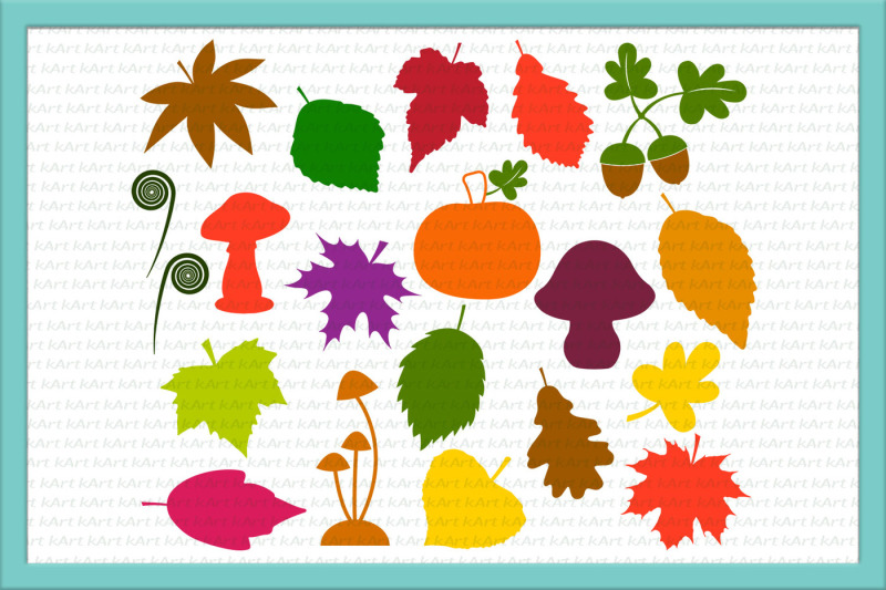 Leaves svg, fall leaves svg, leaves clipart, mushrooms svg.