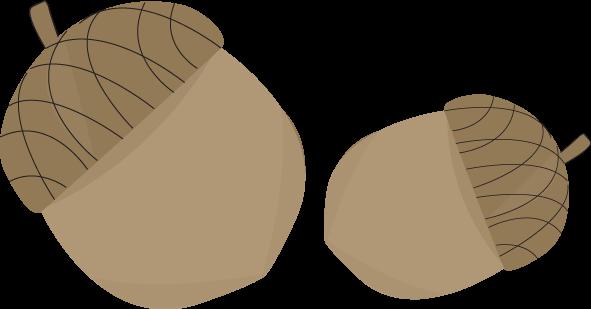 Two Acorns Clip Art.