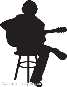 Clip Art Of The Silhouette Of A Man Playing Acoustic Guitar.