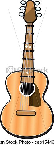 Vector Clipart of Acoustic Guitar.