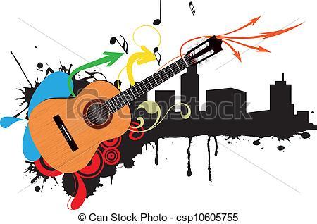 Clipart Vector of guitar acoustic skyline.