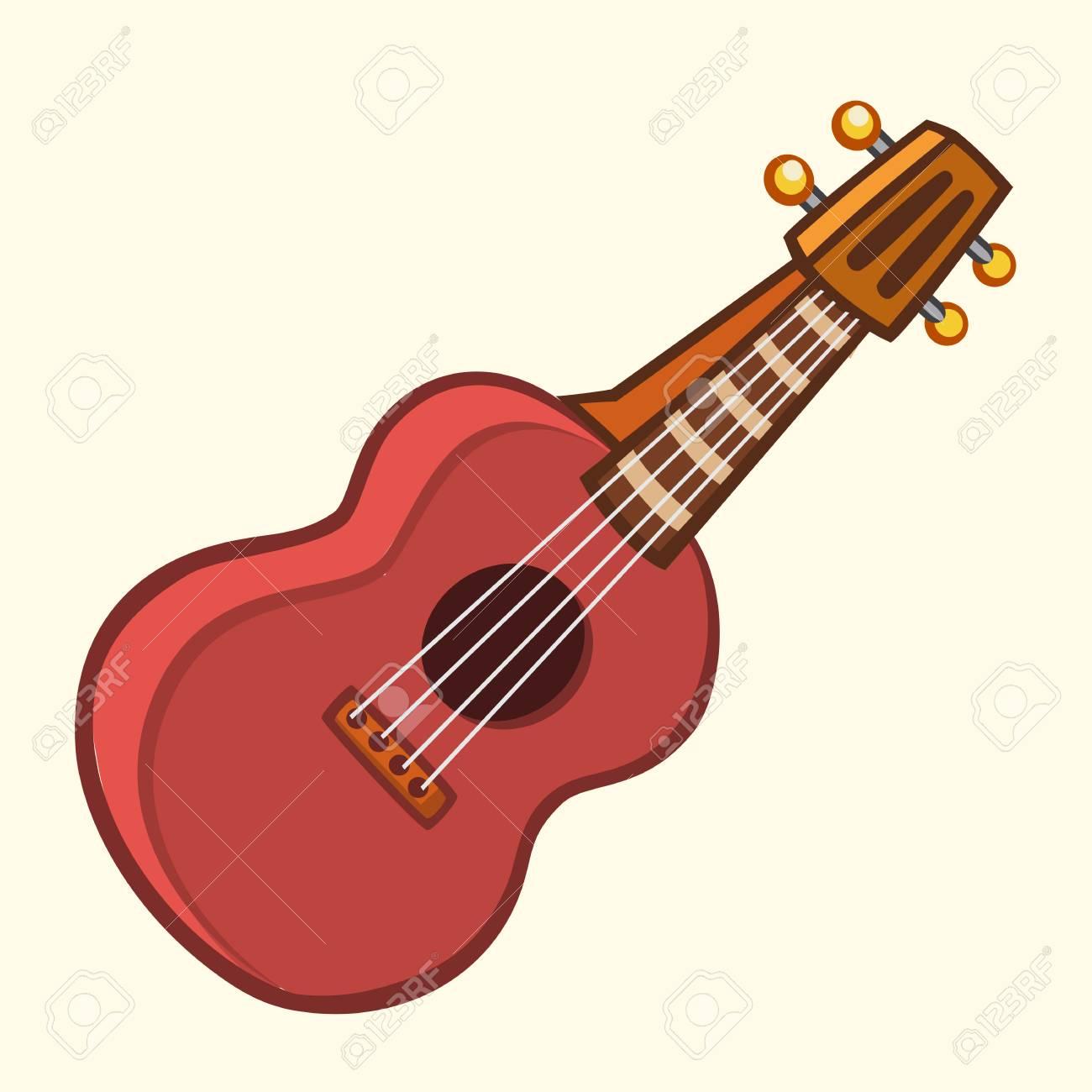 Cartoon vector illustration of acoustic guitar or ukulele. Cartoon...