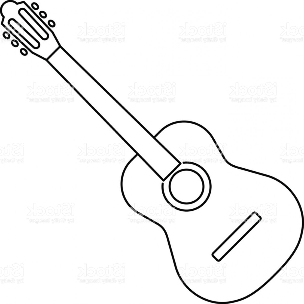 Icon Of Acoustic Guitar Icon Black Contour On White Background Of.
