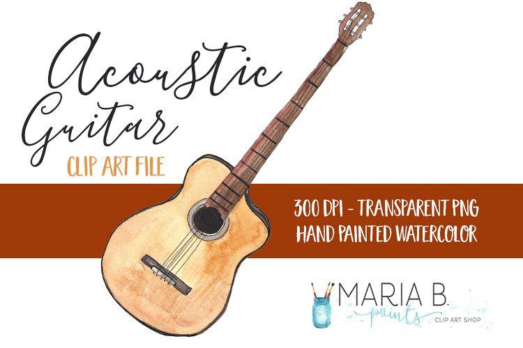 Acoustic Guitar Watercolor Clip Art PNG.