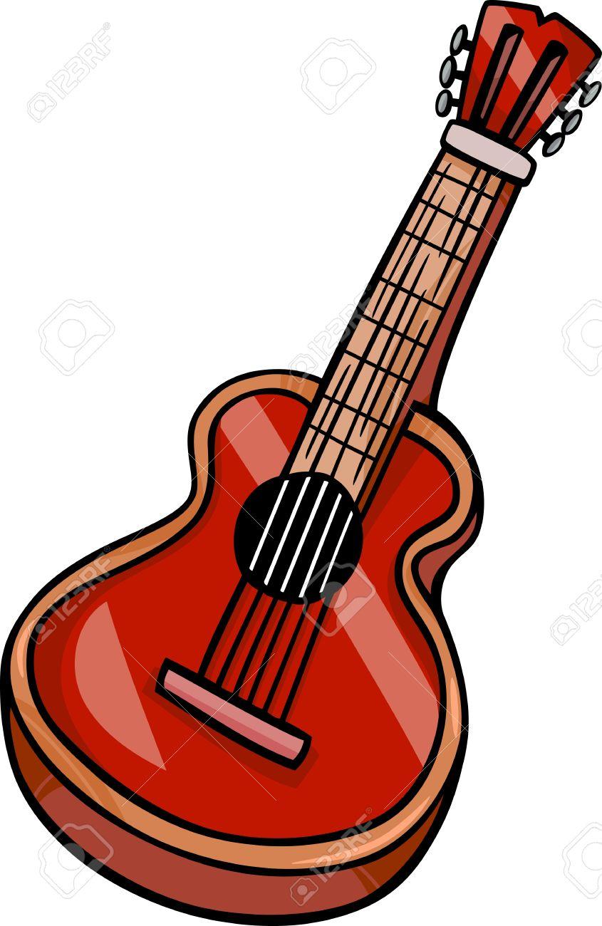 Cartoon Illustration of Acoustic Guitar Musical Instrument Clip...