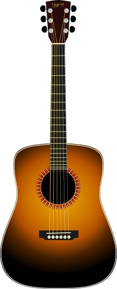 Acoustic Guitar clip art Free vector in Open office drawing svg.