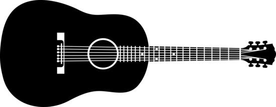Acoustic guitar clipart silhouette.