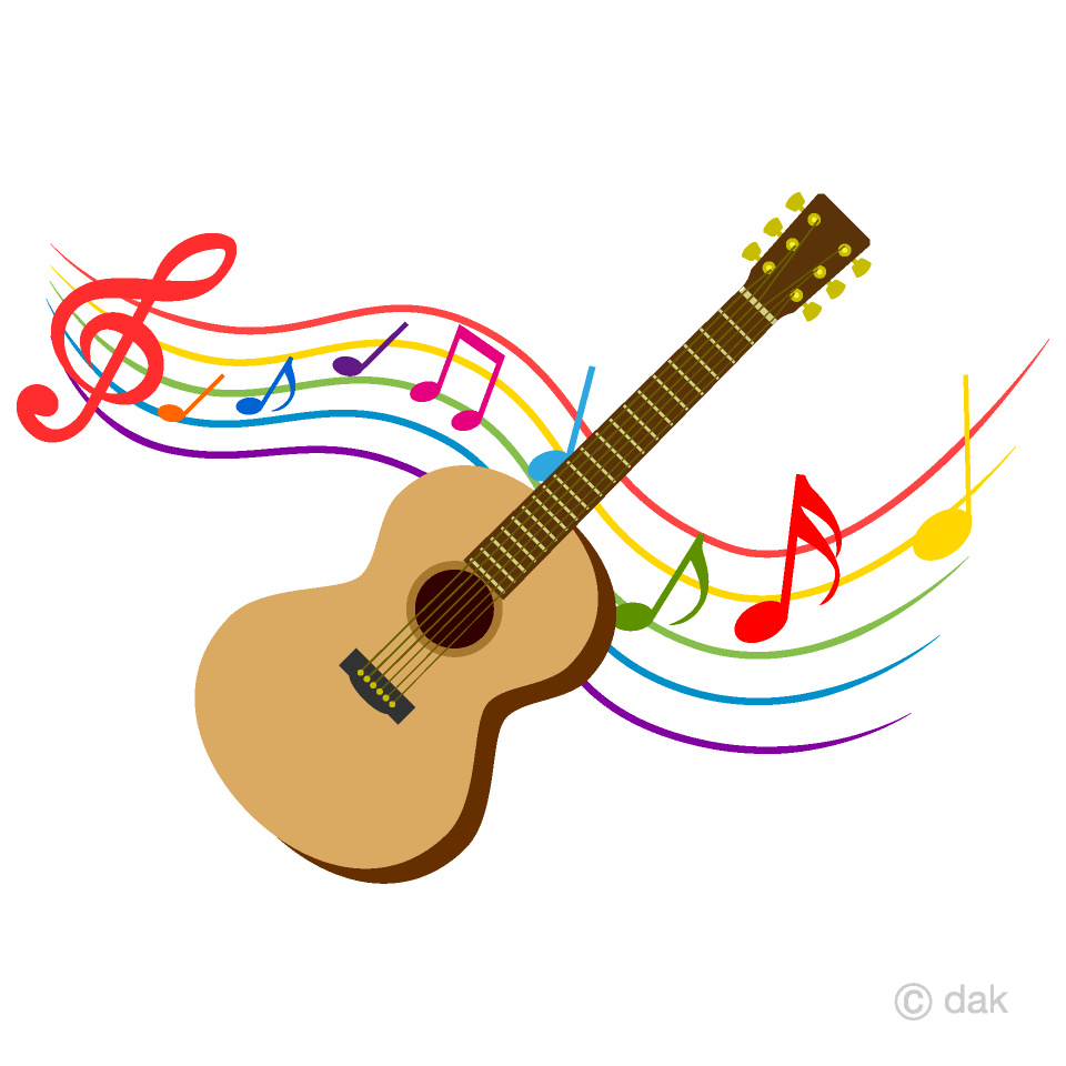 Free Guitar and Colorful Note Music Clipart Image|Illustoon.