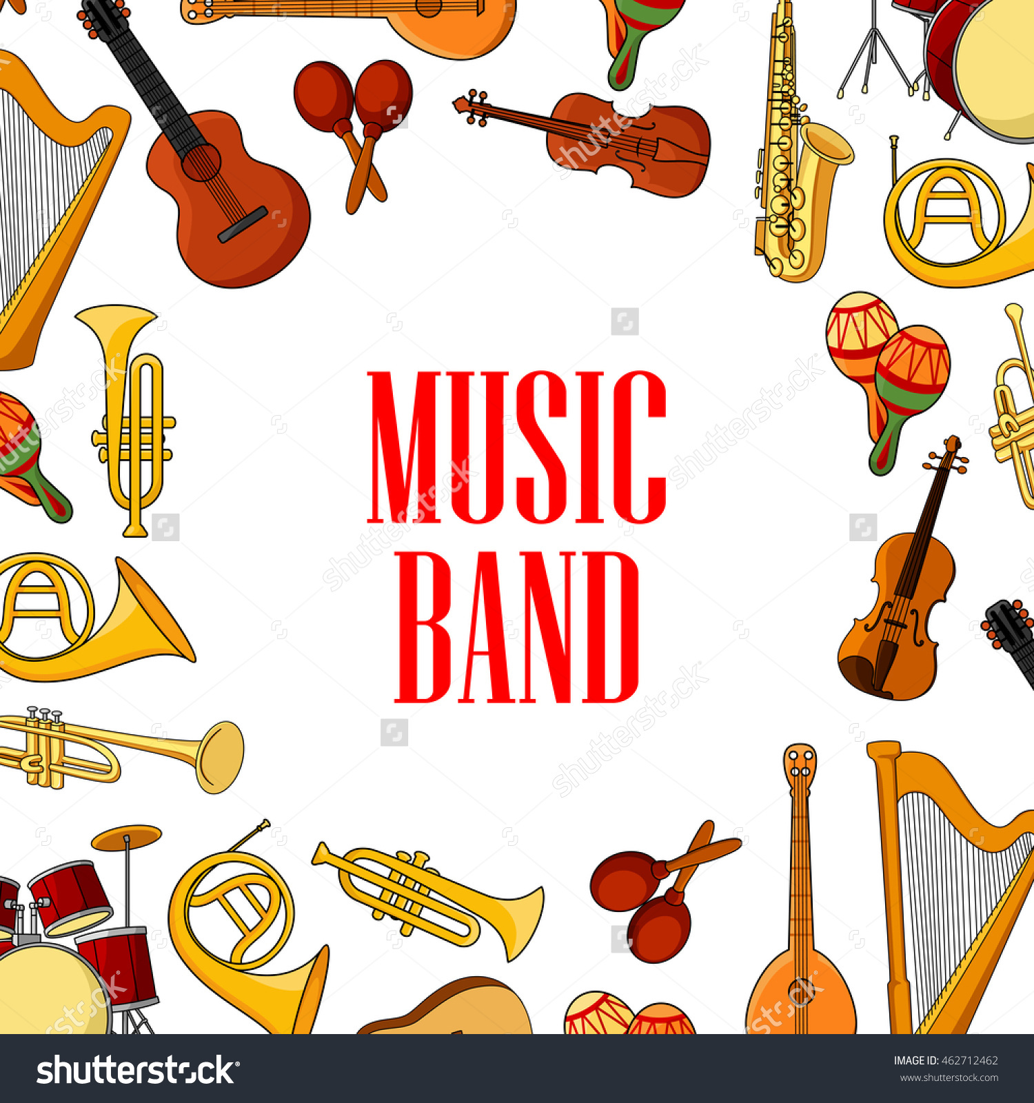 Musical Instruments Banner Acoustic Guitars Drums Stock Vector.