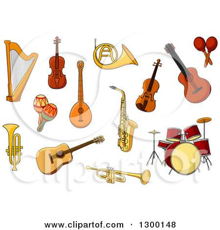 Clipart of a Golden French Horn.