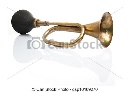 Picture of Old acoustic horn isolated in a white background with.