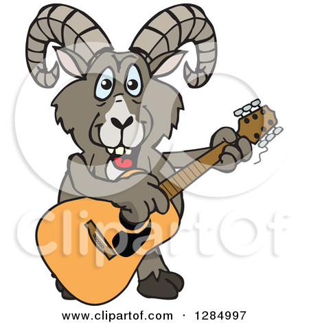 Clipart of a Cartoon Happy Sheep Playing an Acoustic Guitar.