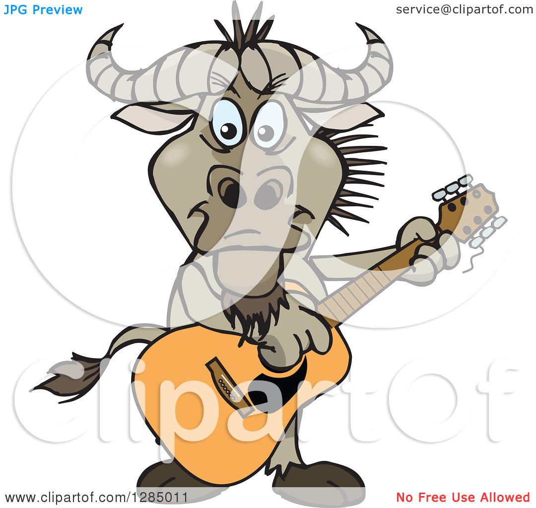 Clipart of a Cartoon Happy Wildebeest Playing an Acoustic Guitar.