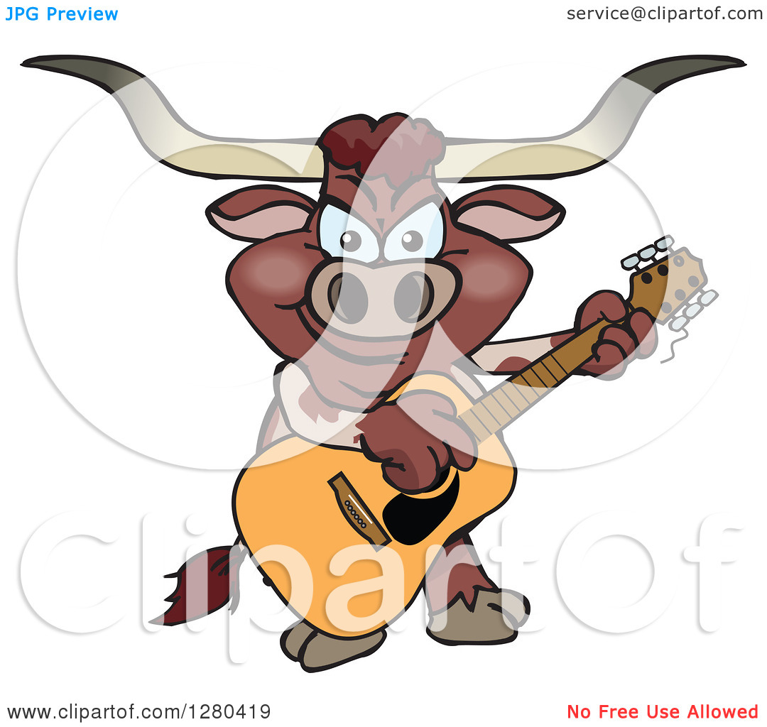 Clipart of a Texas Longhorn Bull Playing an Acoustic Guitar.
