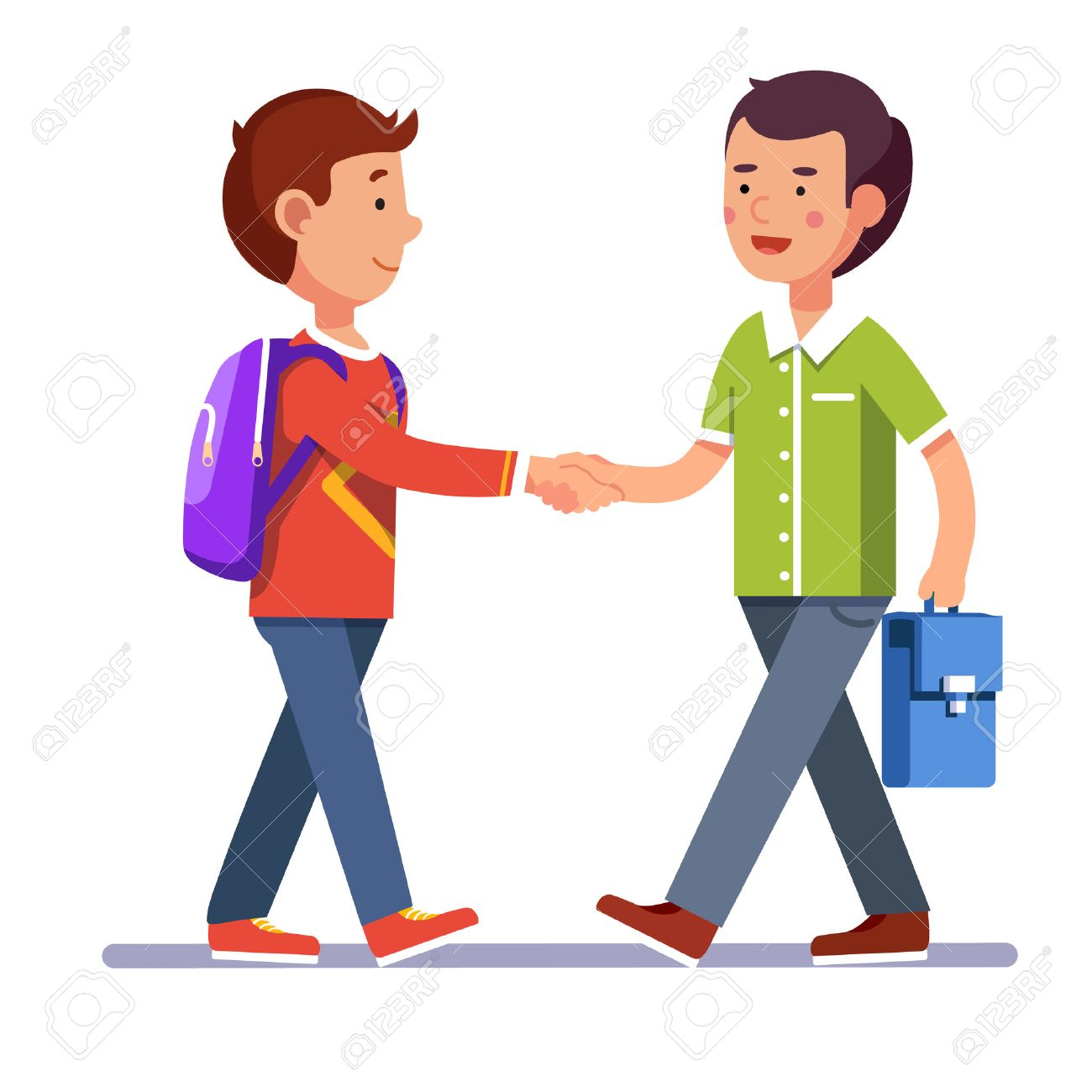 Two boys standing and shaking hands making peace or new acquaintance.