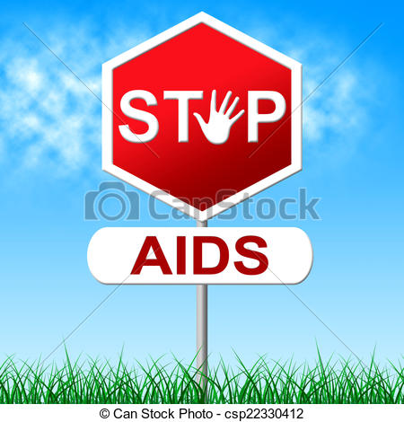 Clipart of Aids Stop Represents Acquired Immunodeficiency Syndrome.