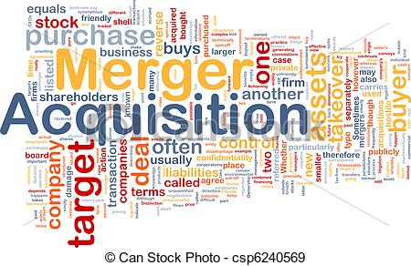 Stock Illustration of Merger acquisition background concept.