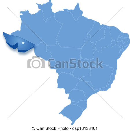 Vector Clipart of Map of Brazil where Acre is pulled out.