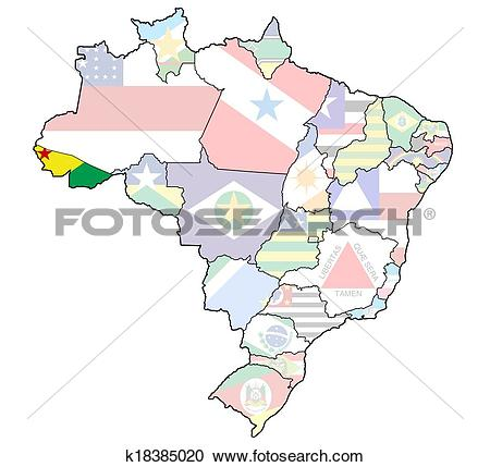 Stock Illustrations of acre state on map of brazil k18385020.