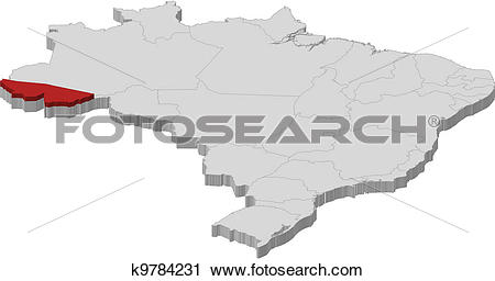 Clipart of Map of Brazil, Acre highlighted k9784231.