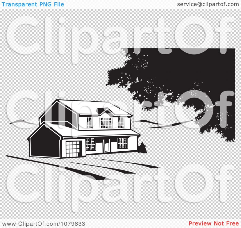 Clipart Black And White House On Acreage Ee Vector.