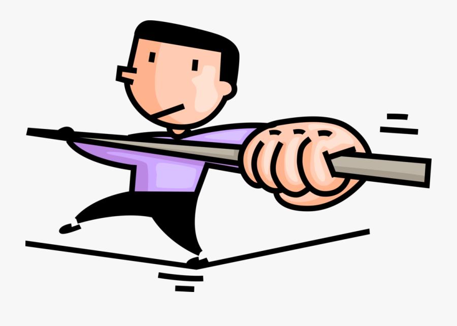 Vector Illustration Of Highwire Tightrope Acrobat Walking.