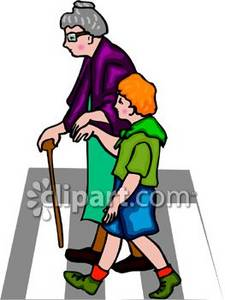 Boy Helping an Old Lady Across the Street Clipart Picture.